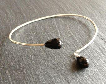 Black onyx open Bangle Bracelet