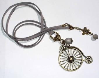 Velocipede suede necklace gray 80 cm