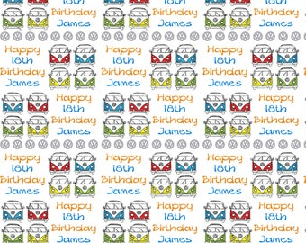 Personalised VW Campervan Birthday Gift Wrap With Own Name