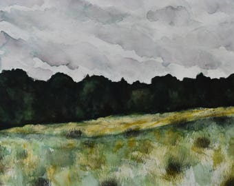 Original watercolor of a farm meadow on a cloudy day