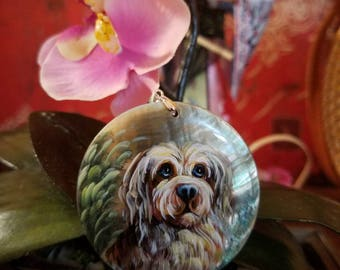 Stunning Art Work Hand- painted Dog Painting Wearable Art Pendant on Black Lip Shell Pendant