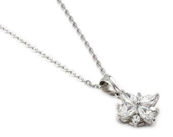 "Round and marquise cz flower necklace 16""+1"" adjustable"