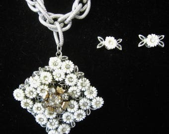 Redesigned Costume Jewelry - Pendant Necklace with Pierced Earrings