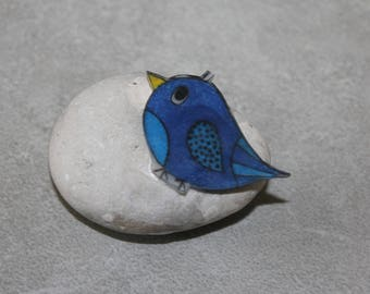 Stone with little bird paperweight