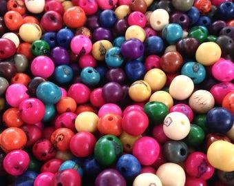 X 50 Acai seeds beads, seeds acai multicolor