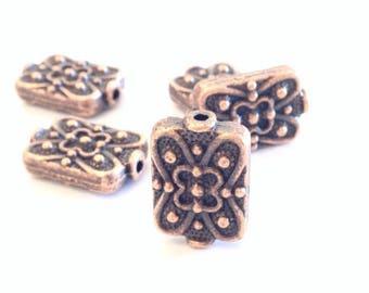 X 10 rectangle metal beads 18mm