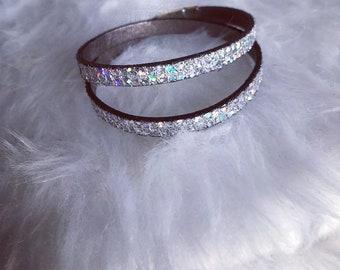Leather Bracelet double turn silver sparkly - magnetic clasp