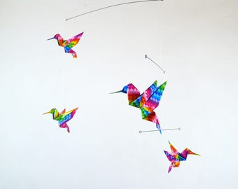 Baby mobile with origami 5 cheerful multicolored birds for room decoration
