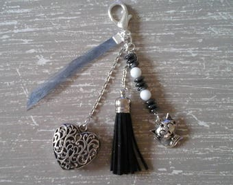 heart and black tassel bag charm