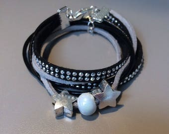 Leather and Pearl Cuff Bracelet with black stars