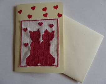 double cream embroidered cats and hearts with its envelope for Valentine's Day card