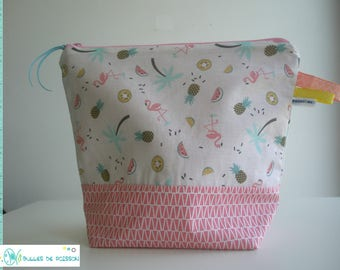 "toilet bag, zippered pouch ""flamingos pink"""