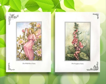 Foxglove and Wild Rose Flower Fairy Print from vintage book. Woodland Fairies Nursery themed gift for girl. Illustration for framing