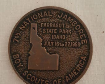 Boy Scouts of American 1969 National Jamboree Idaho Bronze Toned Commemorative Coin