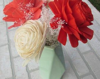 Coral and Crimson with Mint Vase Arrangement
