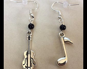 "Mismatched earrings musical ""guitar and notes"""