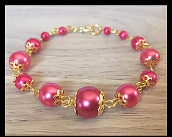 Pink glass beaded bracelet-