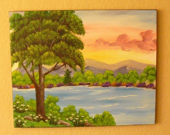 Oil painting-Bob Ross - landscape painting River tree picture