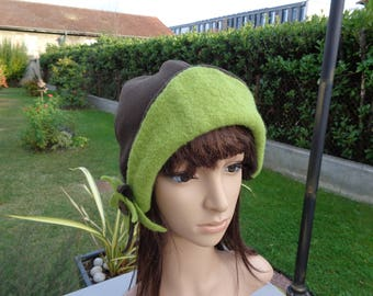 Hat from designer boiled wool fleece and green brown