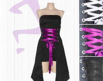 """""""Kamikawaï"""": black laced bustier dress."""
