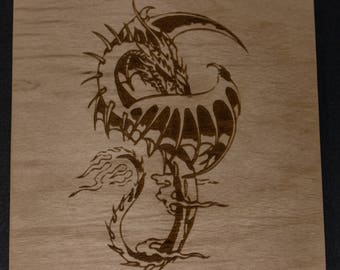 Dragon Laser Engraved Birch Wood Plaque 5 1/2 x 5 1/2