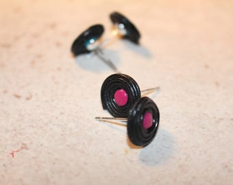 Chips licorice candy pink Fimo with children. 925 sterling silver studs