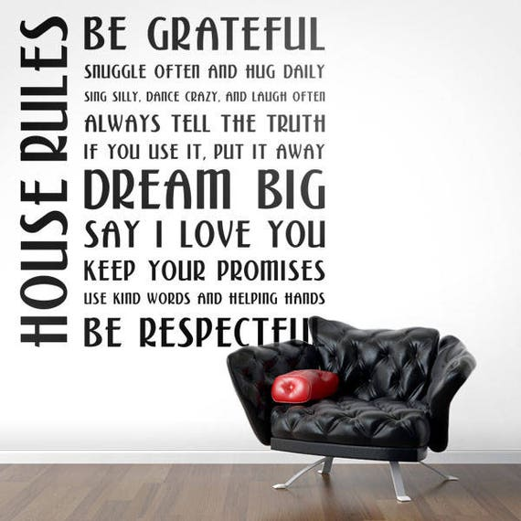 House rules Decal - Decals for Home Decor, Lettering, Typography Wall Sticker, Dream, Be Grateful, Hug, Snuggle, Keep your promises