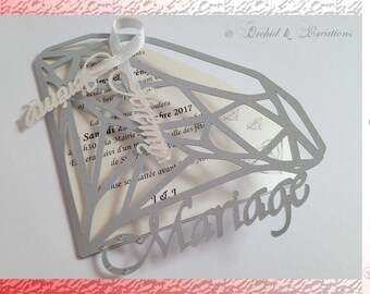 Wedding announcement - Diamond Chic and glamorous - choose personalization