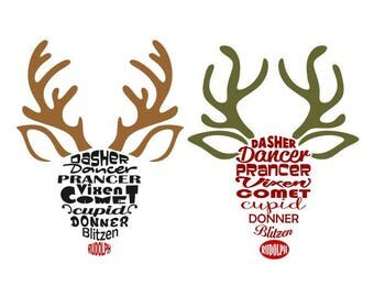 Reindeer Names Christmas Cuttable Design SVG PNG DXF & eps Designs Cameo File Silhouette