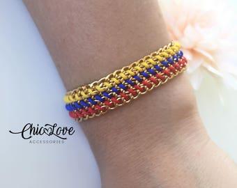 Pulsera de Colombia, Colombian Bracelet, Bracelet, Colombian Flag Bracelet, Colombian Jewelry,