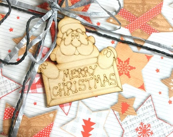 Wooden Christmas Tags Santa ClausChristmas Packaging Rustik Engraved Decoration