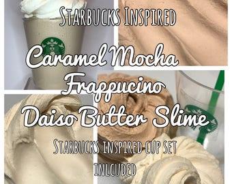 Starbucks Inspired Caramel Frappacino Daiso Butter Slime | Caramel Mocha scented | Whipped topping on the side | Starbucks inspired cup set