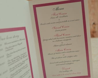 Menu Folded In Half, Self Standing Menu, Damask Menus, Damask Wedding Menu, Damask Wedding Menus, Combination Menu And Table Number