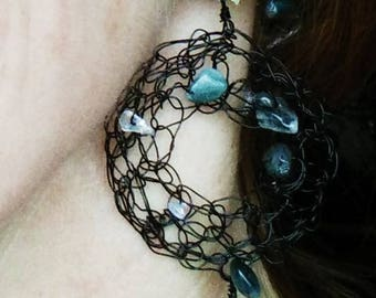"""Clip on earrings Ohlesfees """"Cracks"""" metal and resin"""