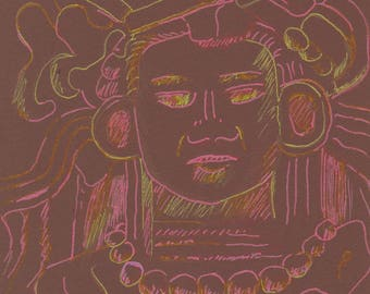 Drawing of Mayan sculpture on brown paper
