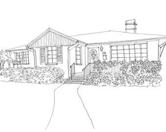 Custom 8x10 House Doodle - Pen & Ink