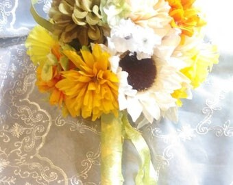 Sunflower Yellow Wedding Bridal Floral Bouquet