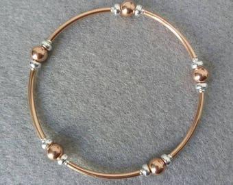 Rose Gold Stretch Bracelet, sterling silver bead bracelet, noodle tube bracelet, rose gold bracelet, gift for her, stacking bracelet