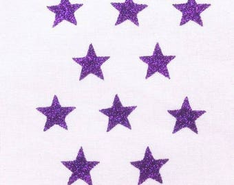 10 little stars clothing purple glittery 15x15mm