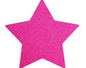 10 X 9.5 cm neon pink glittery star fusible pattern