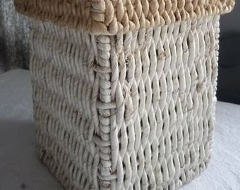 Natural raffia weathered white box
