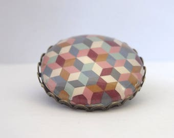 Brooch cabochon patterns colorful geometric triangles