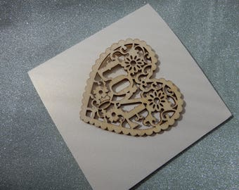 Handmade Love Heart Greetings Card, Blank for any message.