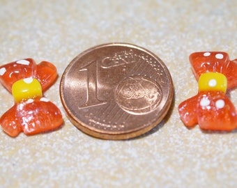 cabochon applique red mini bow