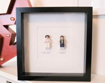 I Love You. I Know - Star Wars Framed Custom Minifigures with Han Solo and Princess Leia.