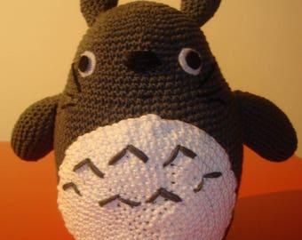 Large grey Totoro amigurumi in cotton