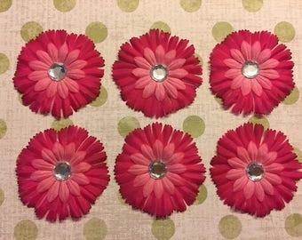 Set of 6 Pink Flower Embellishments