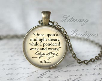 The Raven, 'Once Upon A Midnight Dreary', Edgar Allan Poe Quote Necklace or Keyring, Keychain.