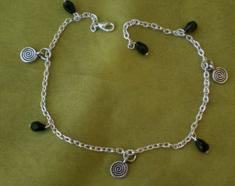 Anklet black beads and charms