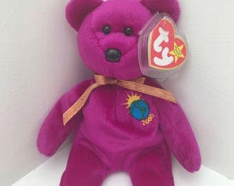 """Retired TY """"Millenium"""" Bear With Tag Errors Rare Collectors Edition."""